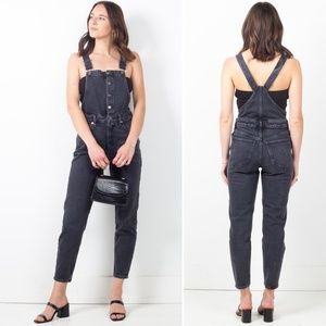 Free People Shelby Washed Black Denim Overalls